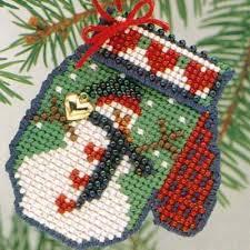 frosty mitten beaded cross stitch kit mill hill 2004 mitten ornaments