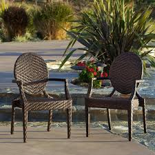 Christopher Knight Patio Furniture Reviews Adriana Pe Wicker Outdoor Chairs Set Of 2 By Christopher Knight