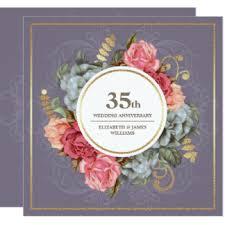 35 wedding anniversary 35th wedding anniversary invitations announcements zazzle