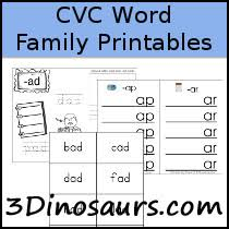 3 dinosaurs cvc word family printables