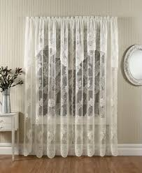 White Lace Shower Curtain With Valance by Anna Lace Curtains With Attached Valance Paul U0027s Home Fashions