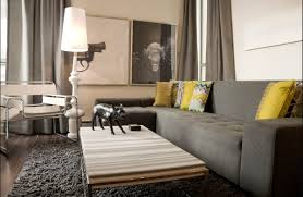 gray brings out wood modern decor grey couches yellow accents
