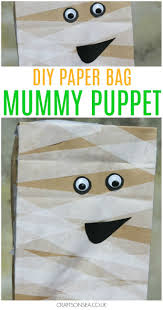 paper bag mummy puppet craft for kids easy halloween puppet and