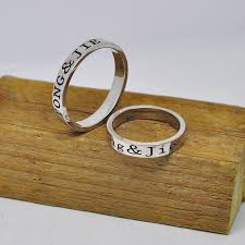 sterling silver engravable jewelry 3mm ring set 925 sterling silver personalized rings 2 side
