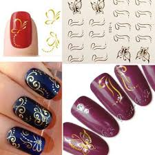 3d golden butterfly bow nail art stickers line dot nail deco us