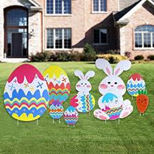 Easter Egg Decorate Games by Amazon Com Bestomz Yard Signs Outdoor Garden Decoration With Egg