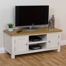 Computer Desk Tv Stand by Cotswold Cream Painted Large Widescreen Tv Unit With Oak Top Tv