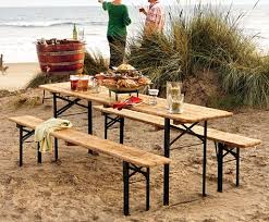 Folding Table And Bench Set Outdoors European Biergarten Table And Bench Set Beer Garden