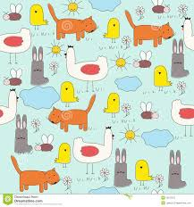 seamless of cartoon animals children u0027s drawings stock