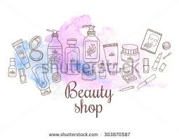 hand drawn watercolor set makeup objects stock vector 296554730