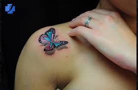 3d color butterfly and little flower tattoos photo 1 photo