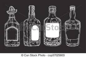 vector clipart of vector bottles with strong alcohol hand drawn