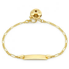Childrens Gold Bracelets Childrens Figaro Id Bracelet 9ct Gold Personalised Engraved