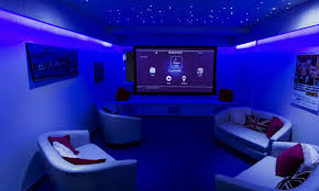 home theater interior blue theater wall themes and rectangle screen combined by white