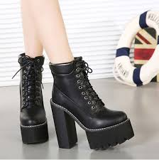 womens boots heels aliexpress com buy lace up boots pumps winter autumn shoes