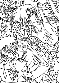 naruto vs sasuke anime coloring page for kids manga anime