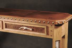 hand made leather top entry table with antler drawer pulls by