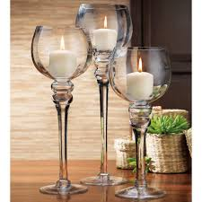 home essentials u0026 beyond amber colored footed hurricanes set of 3