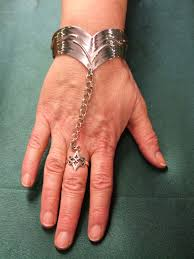 sterling silver ring bracelet images Finished sterling silver torc style bracelet ring chained to model jpg