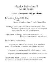 babysitting resume template babysitting resume template baby sitter sle experience luxury