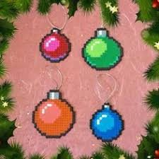 8 bit pixel art christmas light ornaments set of 4 hama beads