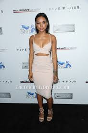karrueche tran cut out party dress 9th annual celebrity bowl for