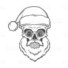 bearded skull santa claus with glasses poster heavy christmas old