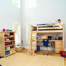bedroom wood bunk bed with desk underneath medium carpet alarm