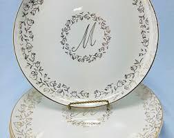 monogrammed dishes m monogram etsy