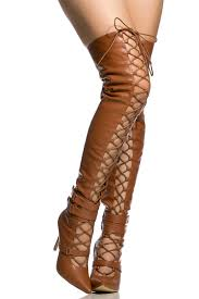 camel faux leather lace up pointed toe thigh high boots cicihot