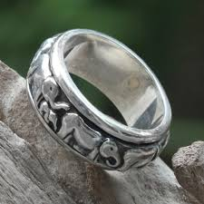 mens spinner rings handcrafted silver spinner meditation ring lucky elephants novica