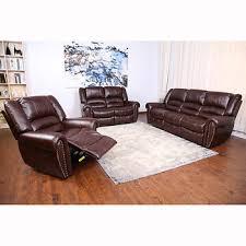 ebello home peabody 3 pc leather gel reclining sofa set