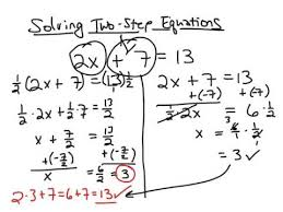 solving two step linear equations math algebra middle math