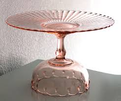 14 cake stand 14 pink cake stand vintage glass cake plate cake