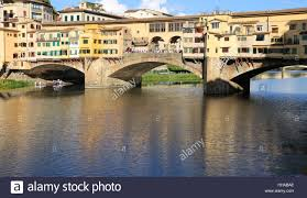 florence italy old bridge called ponte vecchio over river arno
