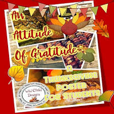 an attitude of gratitude thanksgiving poster for students by
