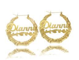 name plate earrings personalized bamboo name earrings door knockers nameplate