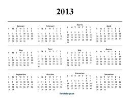 printable calendar year on one page 2013 one page yearly pdf calendar