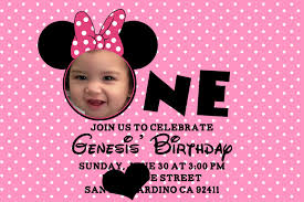 Baby First Birthday Invitation Card 100 Baby Minnie Mouse First Birthday Party Invitation