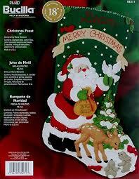 100 seasonal home decorations bucilla seasonal felt amazon com 18 long stocking felt applique kit christmas feast