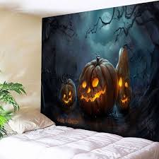 jack o lantern happy halloween wall tapestry blue orange w inch