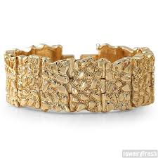 classic gold bracelet images Gold plated classic nugget bracelet jewelryfresh jpg