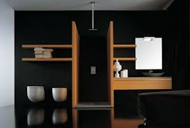 black bathroom ideas efficient compartmentalization of spaces wood looks great against