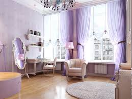 white large curtains purple and blue bedroom white wall paint interior satin platform wood bedside tables vanity furniture