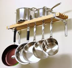 Wall Mounted Kitchen Shelves by Saucepan Hooks Kitchen Pots And Pans Wall Rack Stainless Steel