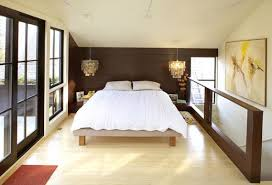 attic modern bedroom with white modern bed and modern bedside