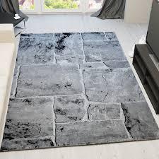 Wohnzimmer Teppiche Modern Designer Teppich Modern Stein Mauer Optik In Grau Weiss
