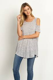 cold shoulder tops navy blue striped cold shoulder top