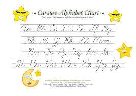 kids cursive alphabets tracing chart with stars cursive alphabet