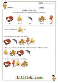 colorful water animals answering ordinal numbers worksheet